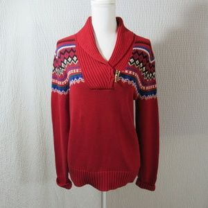 Ralph Lauren Red Toggle Sweater L Nordic Cotton